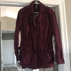 Free People Burgundy Utility Jacket